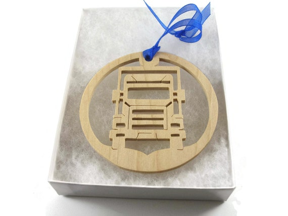 Semi Truck Christmas Ornament Handmade From Maple Wood By KevsKrafts, BN-001-5