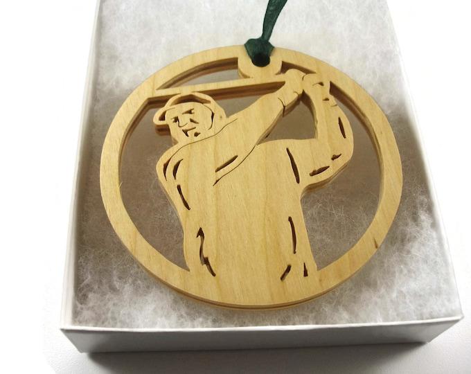 Male Golfer Christmas Ornament Handmade From Birch Wood By KevsKrafts