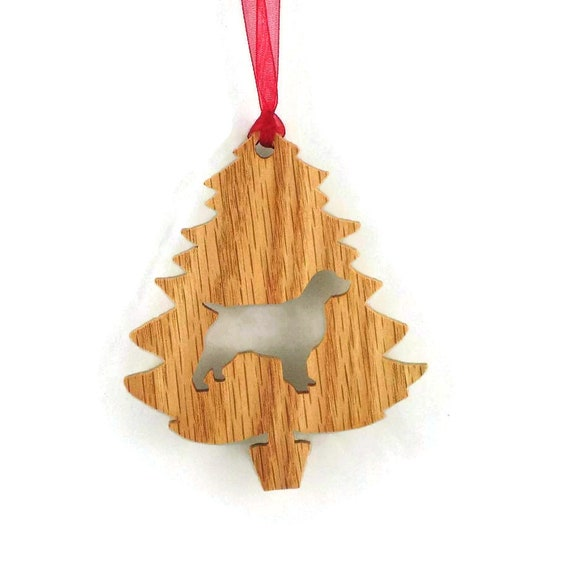 Spaniel Christmas Tree Ornament Handmade From Oak Wood