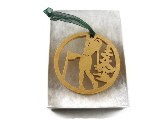Female Golfer Christmas Ornament Handmade From Birch By KevsKrafts