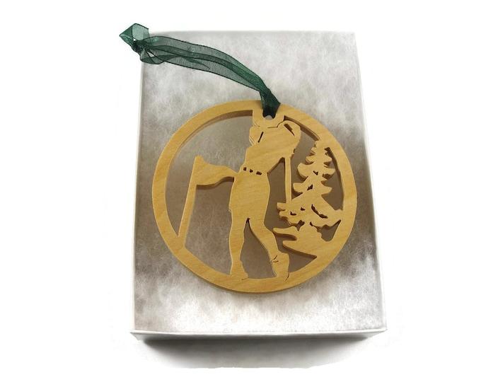 Female Golfer Christmas Ornament Handmade From Birch By KevsKrafts