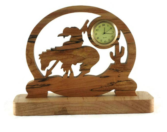 End Of Trail Desk Clock Handmade From Spalted Maple, Cut By Hand On A Scroll Saw