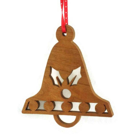 Holly Bell Shaped Christmas Ornament Handmade From Cherry Wood