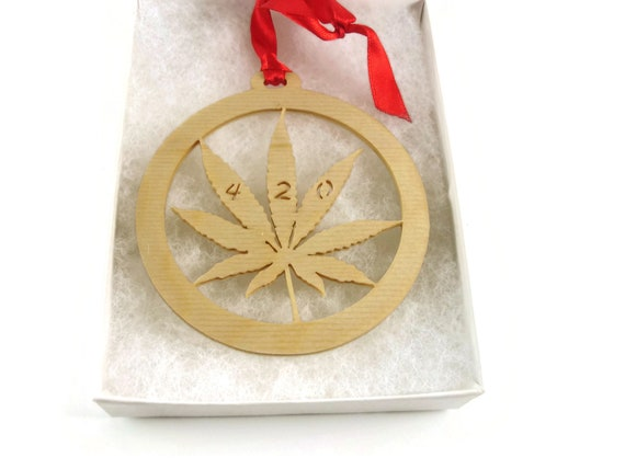 Cannabis Marijuana Leaf Christmas Ornament Handmade From Birch Wood By KevsKrafts BN-8