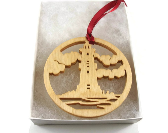 Lighthouse Scene Christmas Ornament Handmade From Birch Wood By KevsKrafts BN-15LB