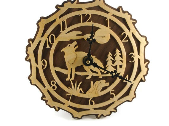 Wolf Scene Wall Hanging Clock Handmade From Birch By KevsKrafts
