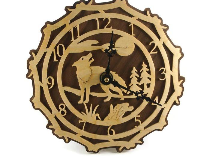 Wolf Scene Wall Hanging Clock Handmade From Birch By KevsKrafts
