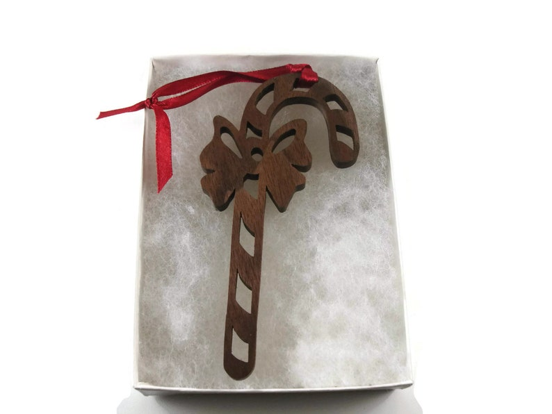 Candy Cane Christmas Ornament Handmade From Walnut Wood By image 0