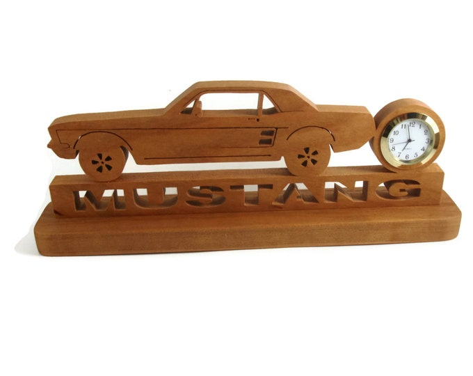 1968 Mustang Coupe Desk Or Shelf Clock Handmade from Cherry Wood By Kevskrafts