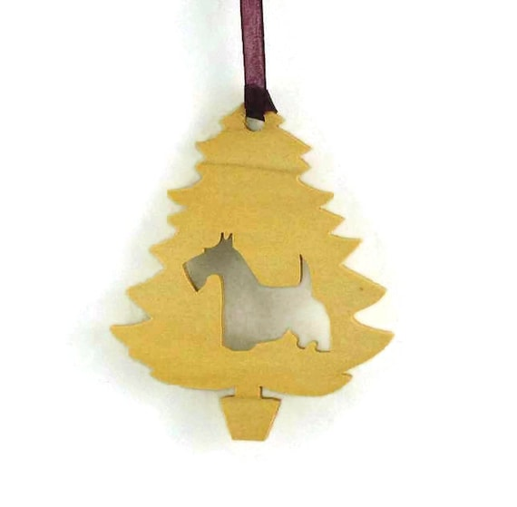 Scottish Terrier Christmas Tree Ornament Handmade From Poplar Wood, Aberdeen Terrier