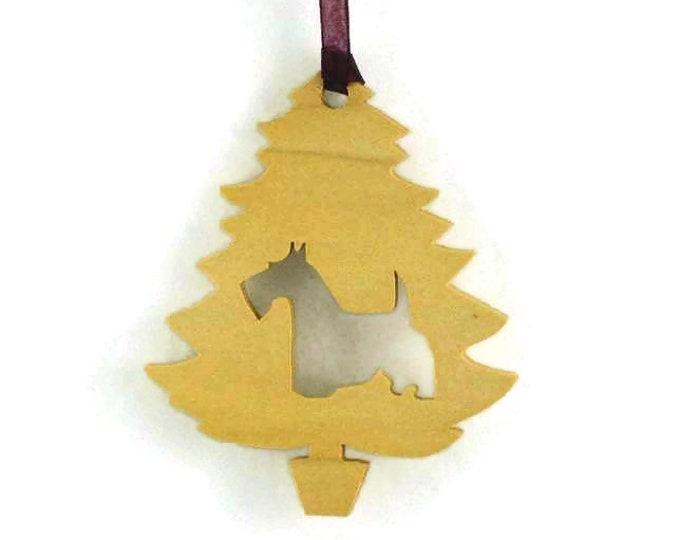 Scottish Terrier Christmas Tree Ornament Handmade From Poplar Wood, Aberdeen Terrier