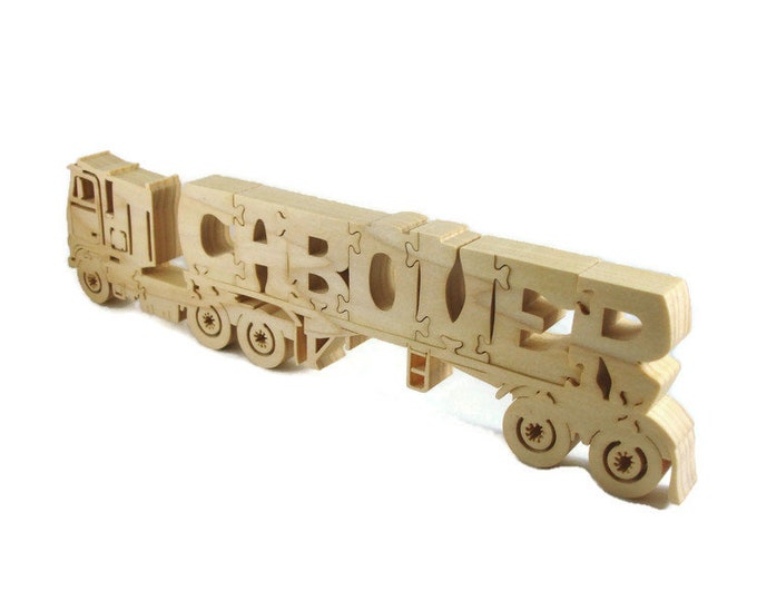 Cabover Semi Tractor Trailer Puzzle Handmade From Hardwood By KevsKrafts