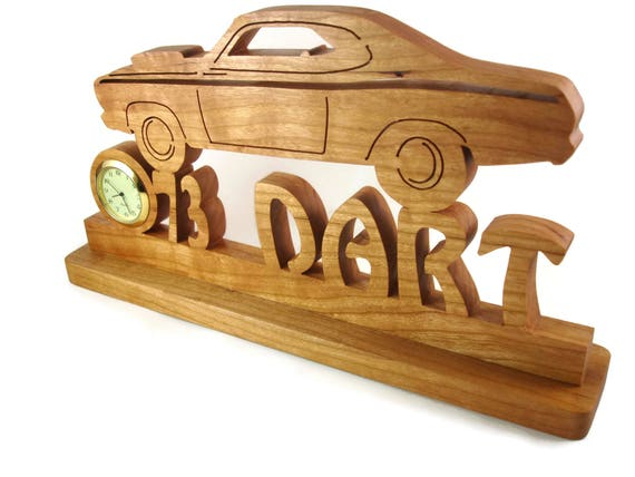 Vintage Style Dodge Dart Desk Or Shelf Clock Handmade From Cherry Wood By KevsKrafts