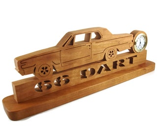 1966 Dodge Dart Desk Or Shelf Quartz Clock Handmade from Cherry Wood By KevsKrafts