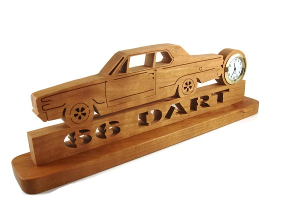 1966 Dodge Dart Desk Or Shelf Quartz Clock Handmade from Cherry Wood By KevsKrafts