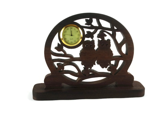 Owls Desk Or Shelf Clock Handmade From Walnut Wood By KevsKrafts Woodworking