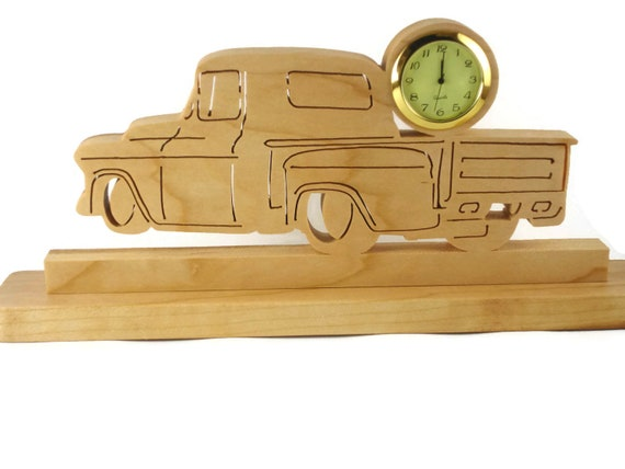 Antique Truck Desk Or Shelf Clock Handmade From Cherry Wood By KevsKrafts,  Hotrod,