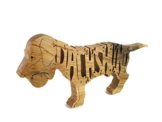 Dachshund Puppy With Ball Jigsaw Puzzle Handmade From Hardwood By KevsKrafts