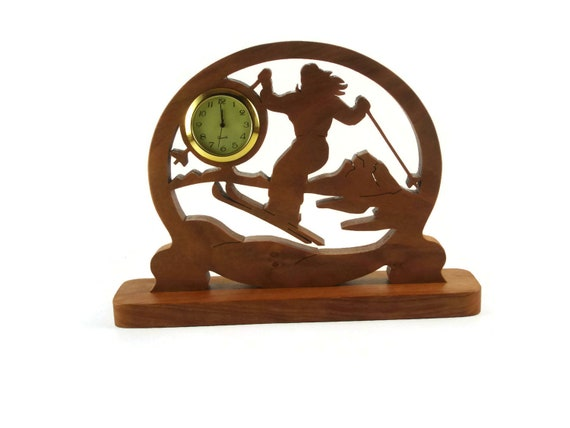 Female Ski Scene Desk Or Shelf Clock Handmade From Cherry Wood By KevsKrafts, NFB-1 Cross Country Skier, Downhill Skiing