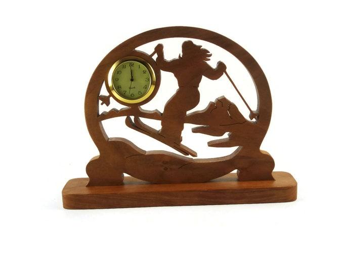 Female Ski Scene Desk Or Shelf Clock Handmade From Cherry Wood By KevsKrafts, NFB-1 Cross Country Skier, Downhill Skiing