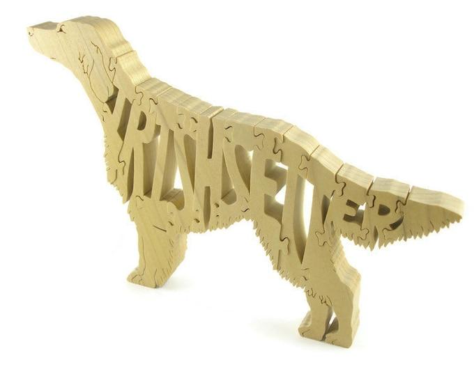 Irish Setter Wood Scroll Saw Puzzle Handmade From Poplar