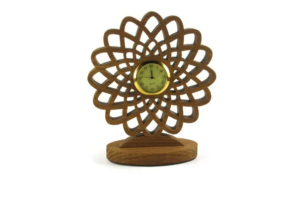 Geometric Flower Desk Or Shelf Clock Handmade From Oak Wood By KevsKrafts Woodworking, Office Decor, Desk Accessories