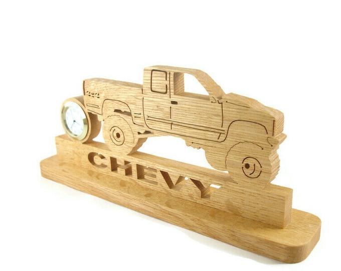 Chevy 4x4 Truck Desk Clock Handmade From Oak Lumber