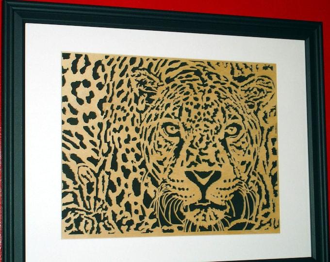Leopard Wall Art Handmade from Birch Wood