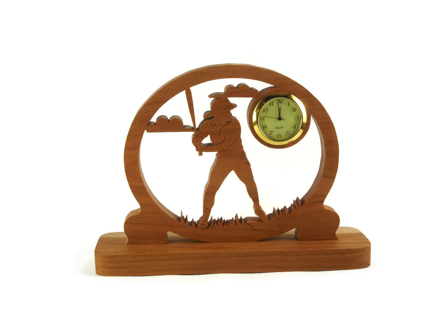 BaseBall Desk Clock Handcrafted From Cherry Wood By KevsKrafts NFB-1