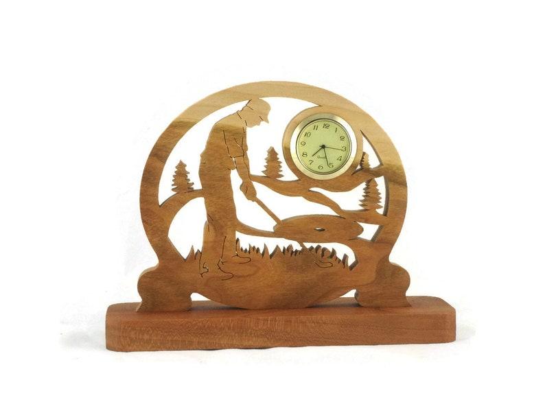 Male Golf Scene Desk Clock Handmade From Cherry Wood Golfing image 0