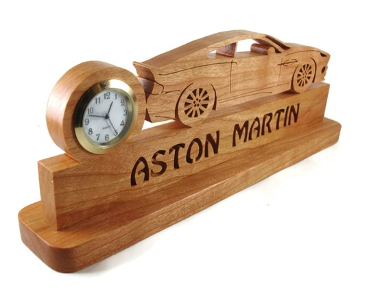 Aston Martin Vanquish Quartz Desk Or Shelf Clock Handmade From Cherry Wood By KevsKrafts