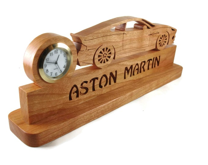 Aston Martin Vanquish Quartz Desk Or Shelf Clock Handmade From Cherry Wood By KevsKrafts