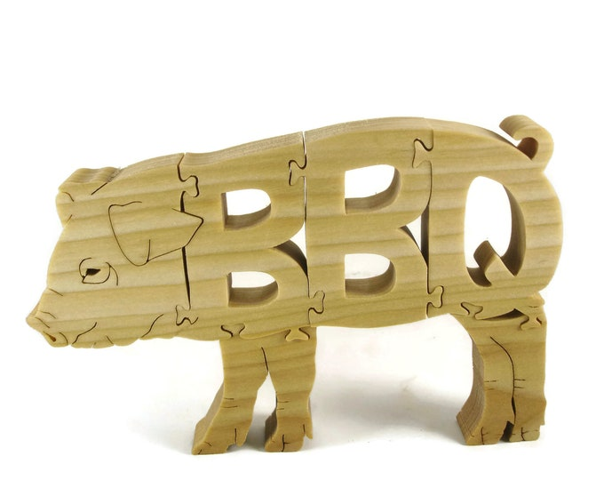 BBQ Pig Puzzle Handcrafted From Poplar Wood By KevsKrafts