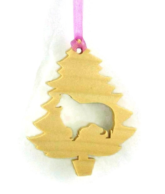 Sheltie, Shetland Sheepdog Christmas Ornament Handmade From Birch Wood, Christmas Decoration BN-6-M1