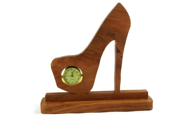 Stiletto High Heel Shoe Desk Or Shelf Clock Handmade From Cherry Wood By KevsKrafts