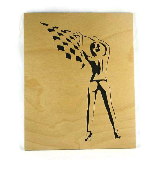 Pin-up Girl Waving Racing Checkered Flag Wall Hanging Handmade From Birch Wood 8 x 10