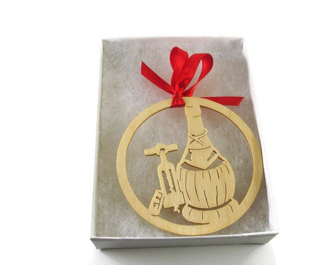 Wine Bottle and Cork Screw Christmas Ornament Handmade From Birch Wood By KevsKrafts BN-15