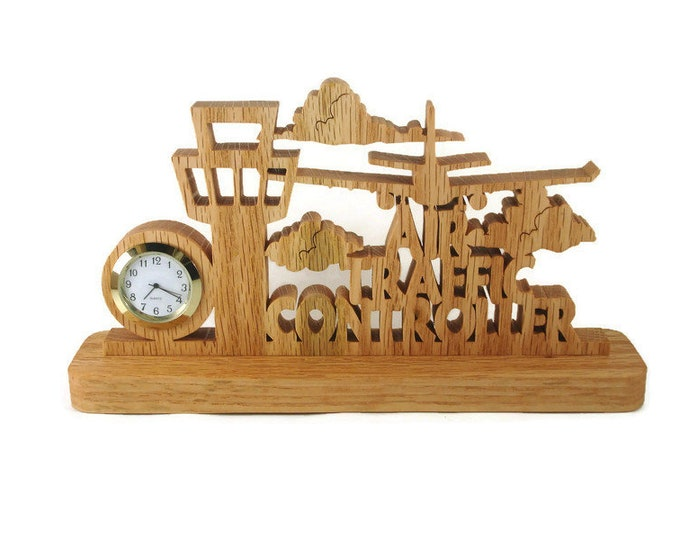 Air Traffic Controller Tower Desk Or Shelf Clock Handmade From Oak Wood By KevsKrafts
