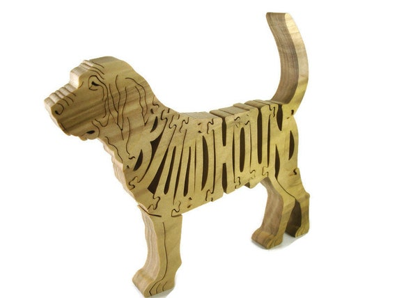 Bloodhound Dog Wooden Puzzle Handmade From Poplar Wood By KevsKrafts