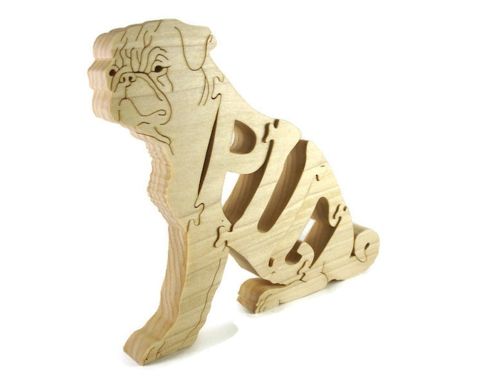 Sitting Pug Wooden Scroll Saw Puzzle Handmade By KevsKrafts