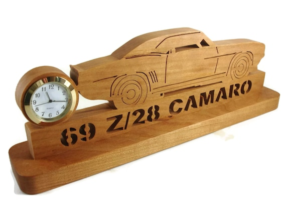 1969 Camaro Z28 Desk Or Shelf Quartz Clock Handmade From Cherry Wood By KevsKrafts