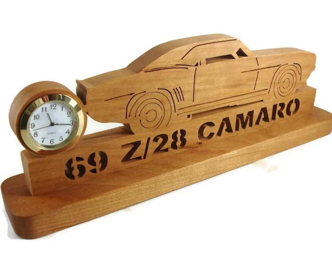 1969 Camaro Z28 Desk Or Shelf Quartz Clock Handmade From Cherry Wood By KevsKrafts