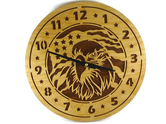 American Eagle Wood Wall Hang Clock