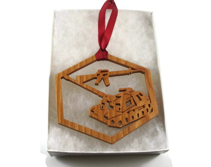 Military Tank And Machine Gun Christmas Ornament Handmade From Cherry Wood By KevsKrafts,  BN-8