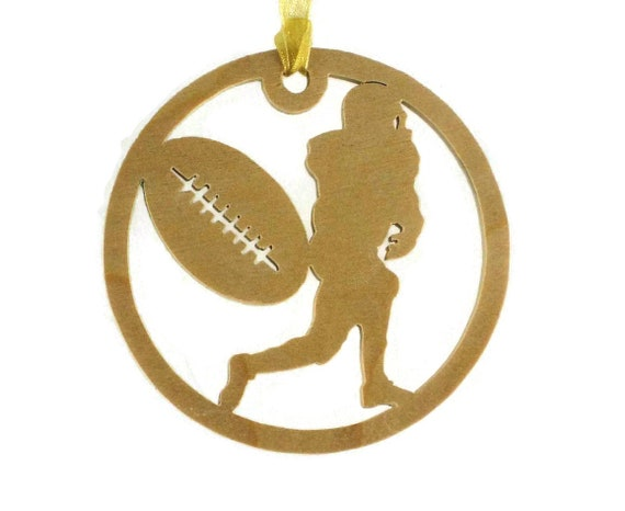 Football Player And Football Christmas Ornament Handmade From Birch Wood