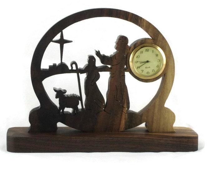 Shepard's and Star Of Bethlehem Scene Mini Desk Clock Handmade From Walnut Wood