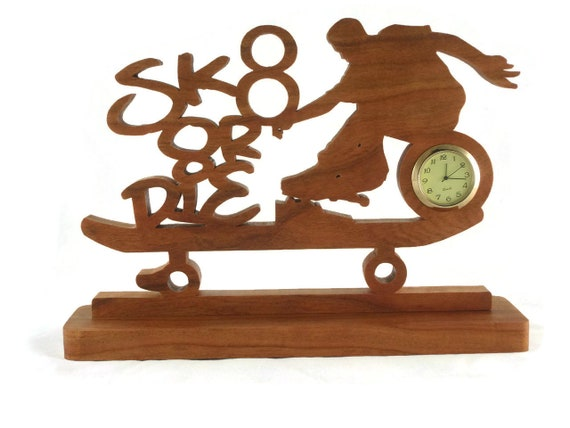 Skateboarder Desk / Shelf Clock Handmade From Cherry Wood, Kids Room Decor, Teen Gift, Skateboarding,