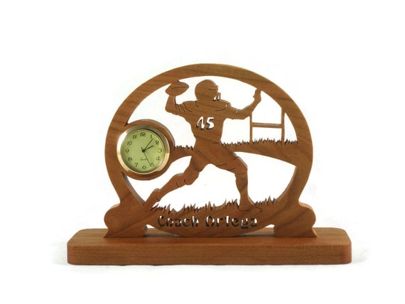 Personalized Football Player Desk Clock Handcrafted From Cherry Wood