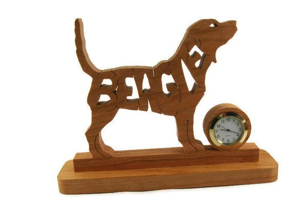 Beagle Dog Desk Or Shelf Clock Handmade From Cherry Wood By KevsKrafts