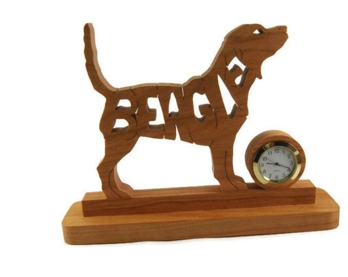 Beagle Dog Desk Or Shelf Clock Handmade From Cherry Wood By KevsKrafts